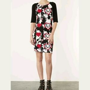 TOPSHOP FLOATING HEARTS BODYCON DRESS